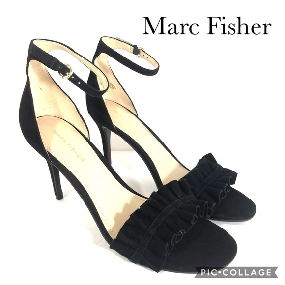 Marc Fisher Shoes - Marc Fisher black suede ankle strap high heels 9.5